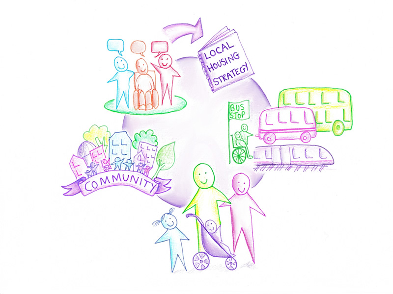 pen illustration showing community and local housing strategy